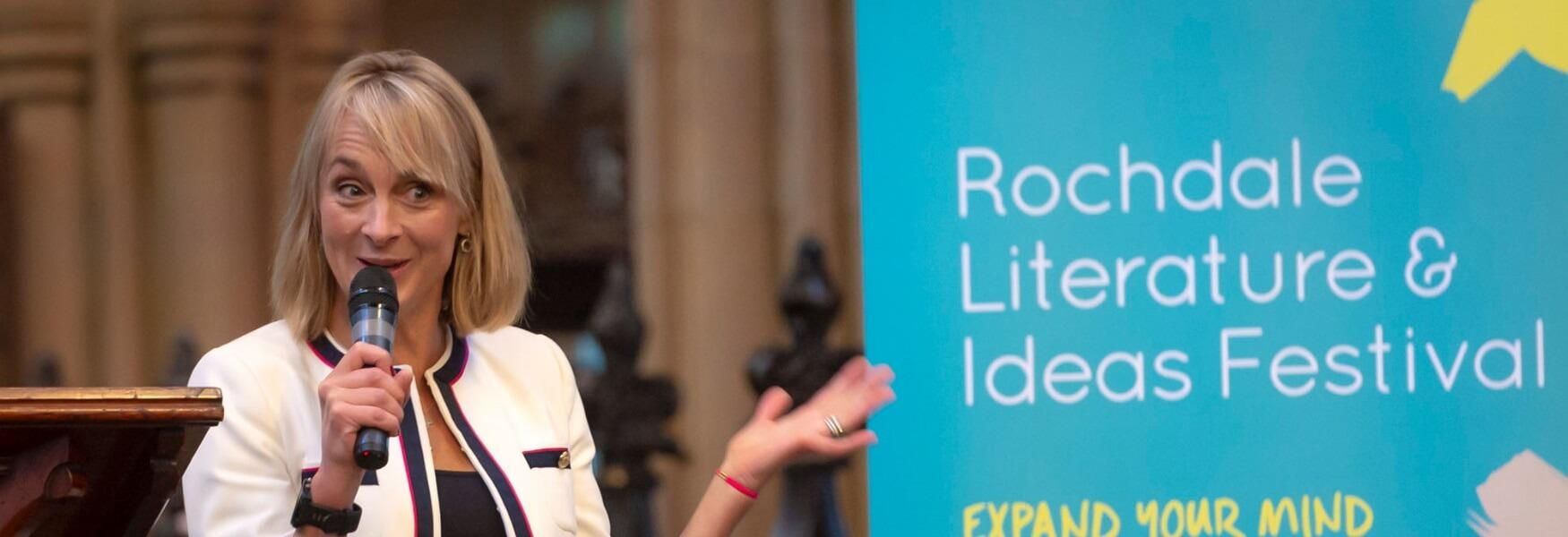 Louise Minchin speaking at the Rochdale Literature and Ideas Festival 2018.