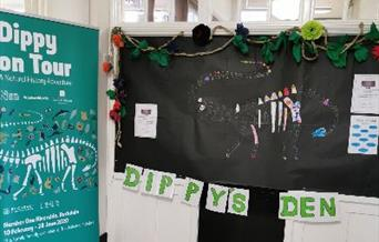 A Dippy display at Heywood Library.