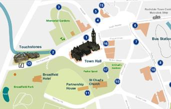 A map of Rochdale Town Centre - Blue Plaque Trail.