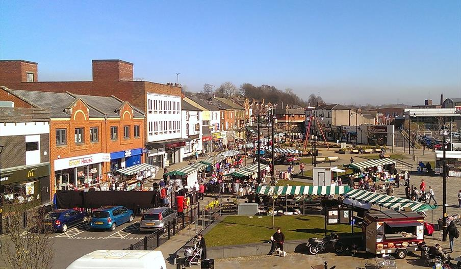 Middleton Market trading on a sunny day.