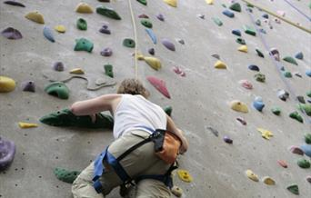Individual Climbing on Indoor Climbing Wall